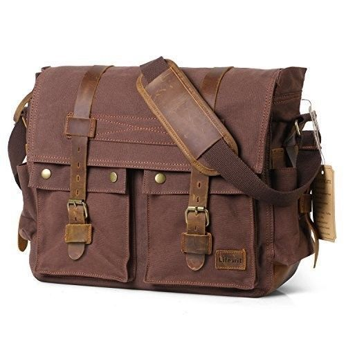 Men's Messenger Bag Vintage Canvas Leather Military Shoulder Laptop Bags Coffee #BagVintage