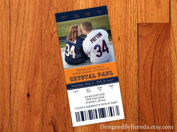 Ticket Wedding Shower Invitation with photo. Can also be used as an invitation for a birthday, wedding or rehearsal dinner. Perfect for sports themed wedding: football, baseball, basketball, soccer, softball, volleyball, golf, etc.