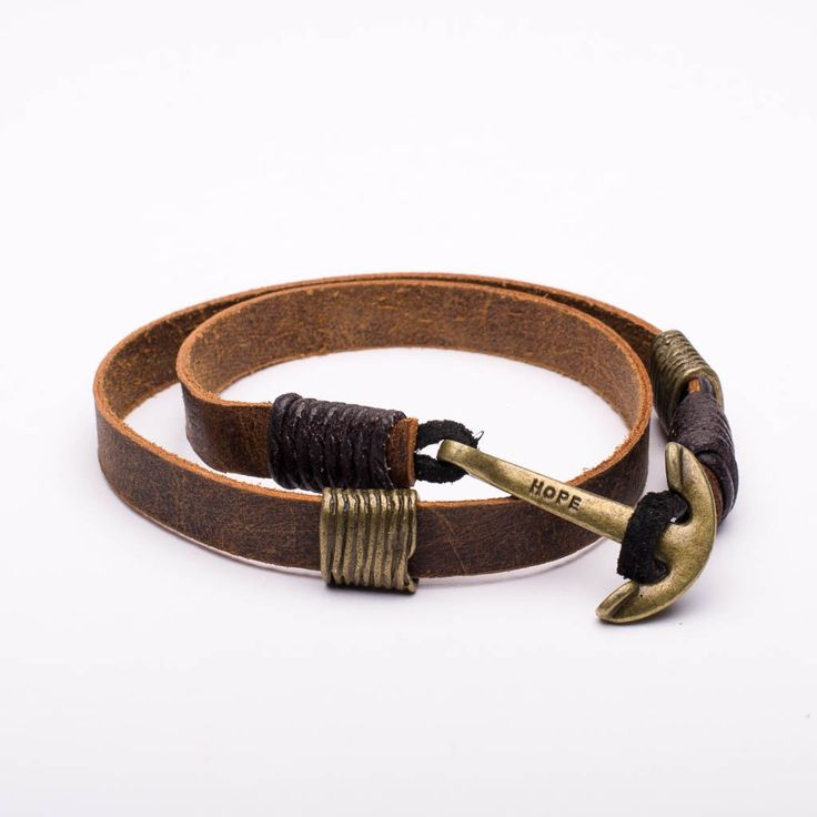 Bracelet Leather Hope Anchor Brass Color