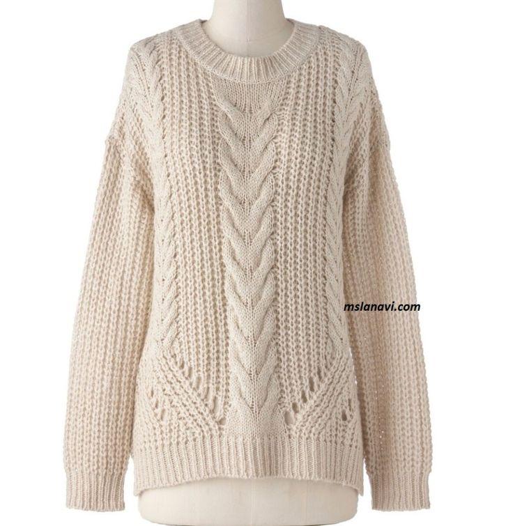 Свободный свитер спицами с рельефами http://mslanavi.com/2016/01/svobodnyj-sviter-spicami/