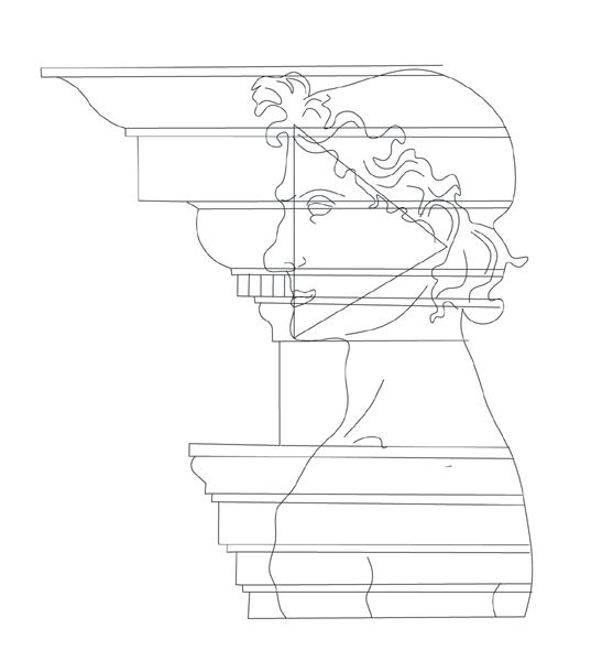 Superimposition of human and building profiles, drawn by Amelia Amelia after Francesco di Giorgio Martini (1492-1502), Trattati di architettura ingegneria e arte militare (Il Polifilo, 1967).