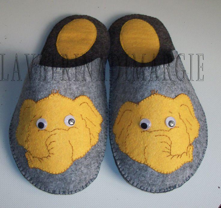 Elephant felt slippers