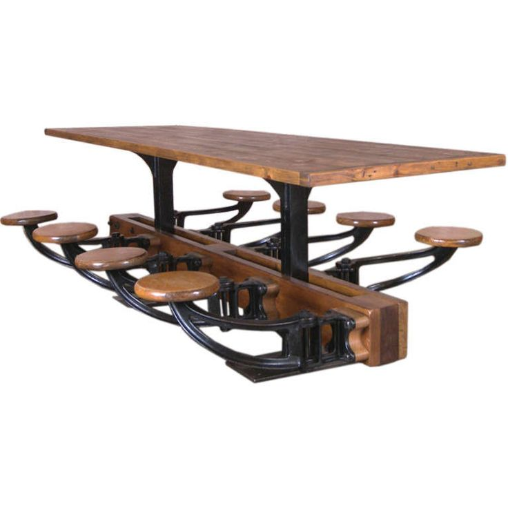 Vintage Industrial Cast Iron And Wood Swing Out Seat Table