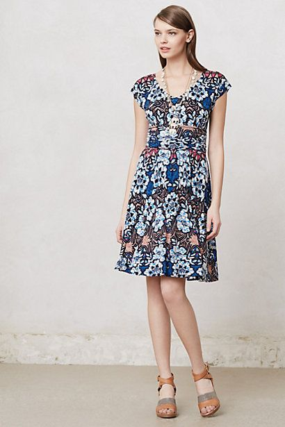 I really like the way they used a vibrant print in this. Batik Gardenia Dress #anthropologie