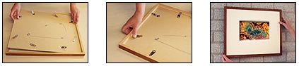 inlijsten: Kunstwerken, spiegels of documenten voorzien van een rand of een houder om ze te ondersteunen, te omgeven