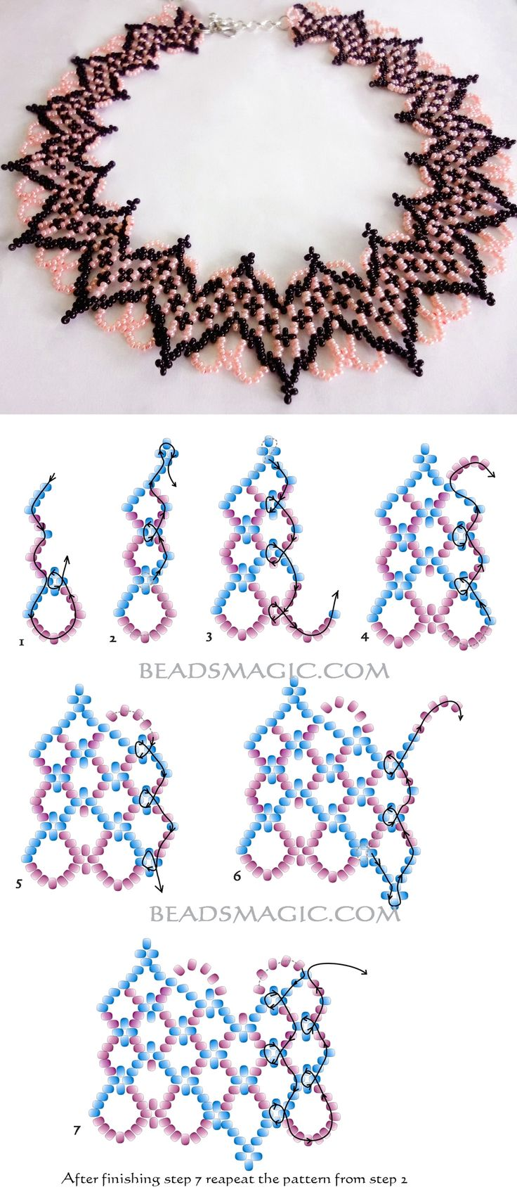 Free pattern for beautiful beaded necklace Selene 11/0 2 szín