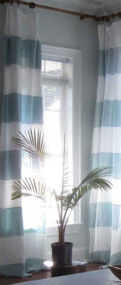 Pale bird's egg blue and white striped St Barts linen drapes/curtains Rough Linen™ real, natural linen curtain