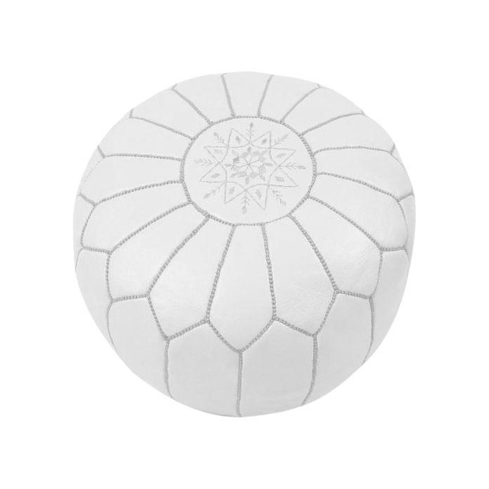 White Moroccan ottoman (Hard to Find Monochrome Style)