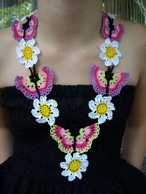 Crochet Necklace...Knitted Jewelry...Handmade Accessory...Butterflies and Daisy Flowers...