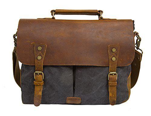 Ecosusi Herren Damen Leder Canvas Tasche Messenger Bags Handtasche Aktentasche schultertasche Umhängetasche - http://herrentaschenkaufen.de/ecosusi/dunkelgrau-ecosusi-herren-damen-leder-tasche