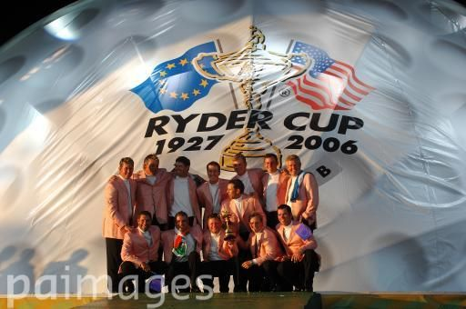 The European Ryder Cup Team celebrate with the ryder cup trophy