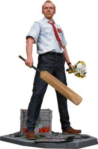 """Shaun of The Dead 12"""" Talking Action Figure by Neca. $32.99. He can stop a zombie uprising. 12"""" talking action figure. Figure speaks key phrases from the movie. Comes with his cricket bat and base as well as an interchangeable left hand with flower bouquet. From the Manufacturer                Shaun of the Dead 12"""" Talking Action Figure.                                    Product Description                Shaun of the Dead 12"""" Talking Action Figure.Features include:"""