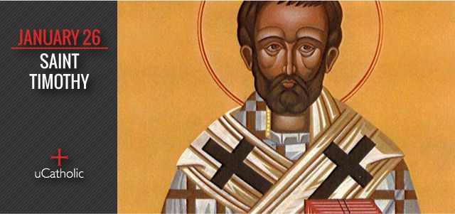 St. Timothy was the first first-century Christian bishop of Ephesus, whom tradition relates died around the year AD 97. The New Testament indicates that Timothy traveled with Saint Paul, who was also his mentor. He is addressed as the recipient of the Epistles to Timothy.