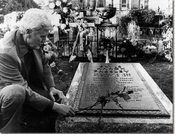 Vernon Presley Father of Elvis Presley Visits His Son's Grave
