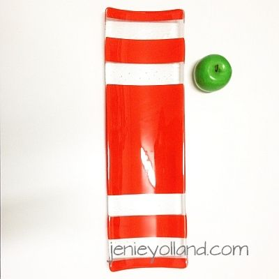 channel platter - the size of a french baguette - 15cms x 53cms Scarlet Elegance by Jenie Yolland - other sizes available too.