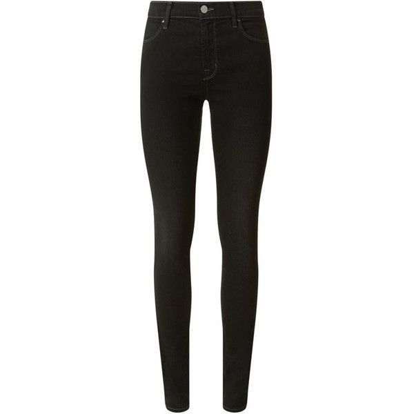 J Brand Mid Rise Super Skinny Jeans Defiance black| Harrods ($275) ❤ liked on Polyvore featuring jeans, pants, medium rise jeans, j brand, skinny jeans, j brand jeans and skinny fit jeans