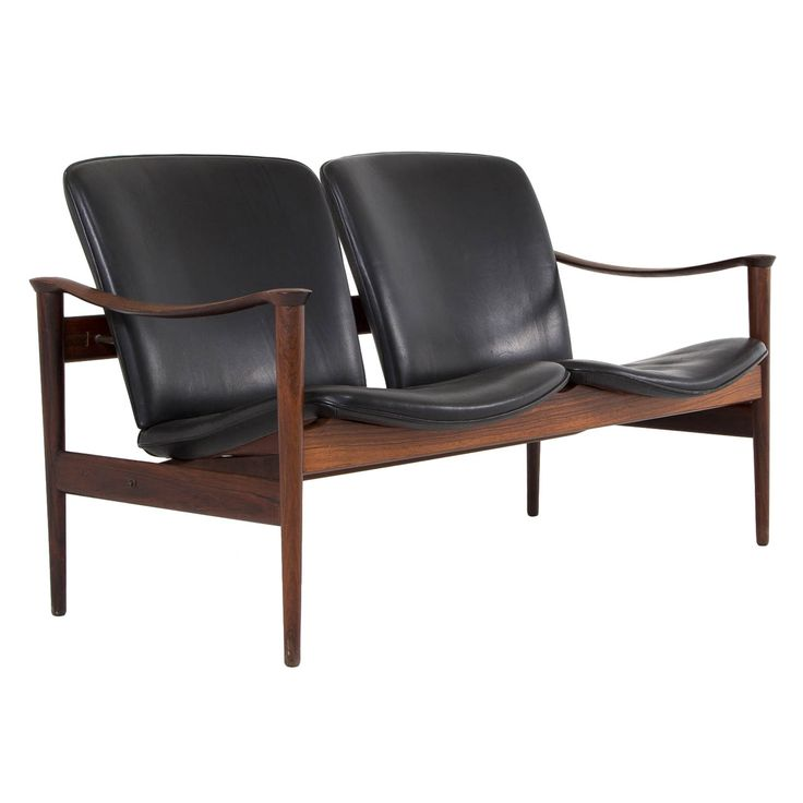 Rosewood and Black Leather Two-Seater by Fredrik Kayser, Norway 1960's | From a unique collection of antique and modern loveseats at http://www.1stdibs.com/furniture/seating/loveseats/