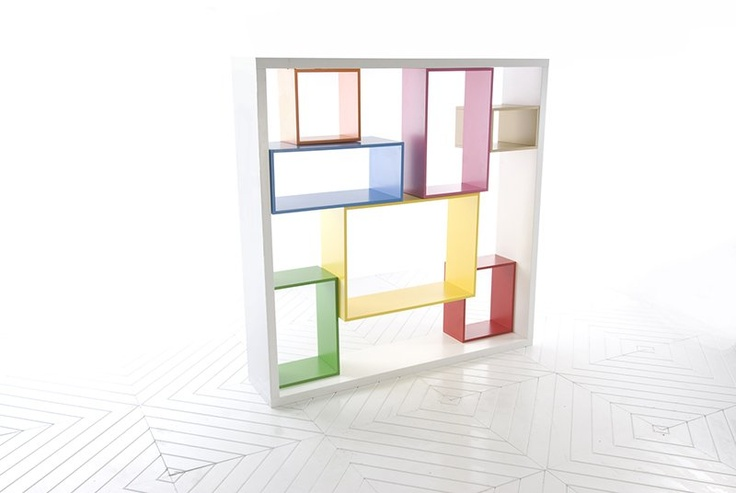 """Open-ended cubes are suspended within the frame in a variety of volumes, which can be choreographed in a number of ways. The depths of each cube are varied to create a sculptural, multi-dimensional quality,"""" comments Jacobsen."""