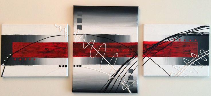 Naam: Serie Trio  Afmetingen: 140x50 Extra informatie: handschilderd; acrielverf en oliverf op canvas doek; meegeschilderde zijkanten; direct op te hangen;  gesigneerd.