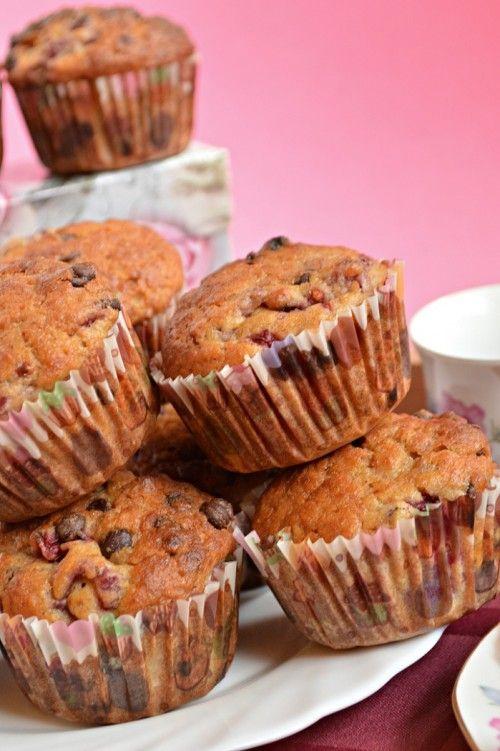 Málnás-csokoládés bögrés muffin