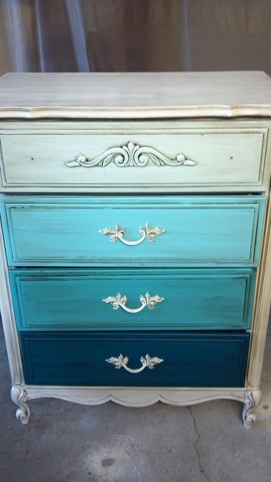 Ombre Dresser, custom painted and glazed.   *FaceBook Page coming soon!- Melissa Chvojicek Custom Home Decor*    Another amazing piece by MC.