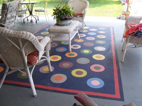 Painted Patio. I Would Love To Paint A Faux Rug On My Concrete Patio!