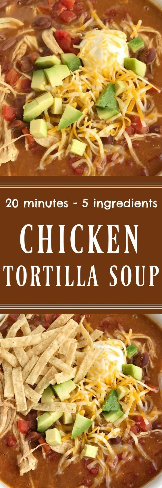 Chicken Tortilla Soup Recipe | The best 5 ingredient chicken tortilla soup only takes 20 minutes to make! One pot is all you need for this delicious and creamy tortilla soup. Combine 5 ingredients some spices and let it simmer on the stove top. Top with cheese, avocado, chips, and sour cream.