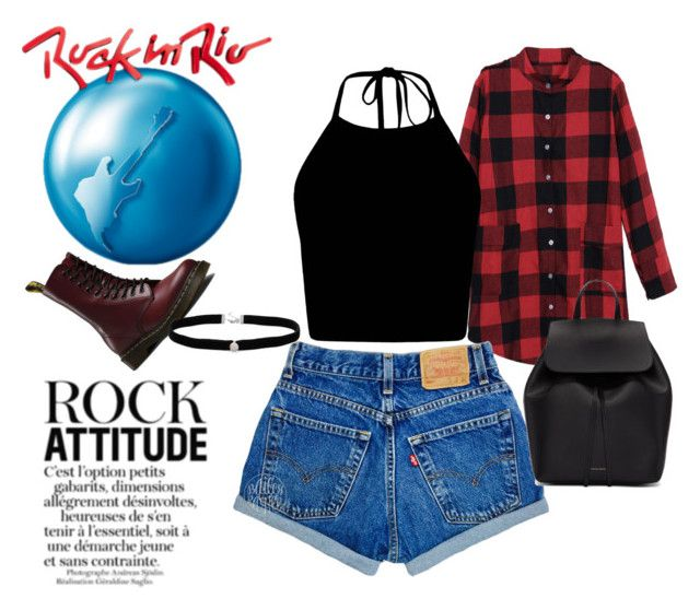"""Festival; Rock in Rio"" by ellealc on Polyvore featuring moda, Dr. Martens, Mansur Gavriel, Amanda Rose Collection, black, festival e rock"