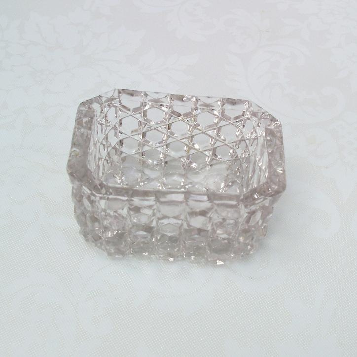 Glass Salt Cellar  Open Salt Dish  Vintage Clear by WhimzyThyme, $27.00