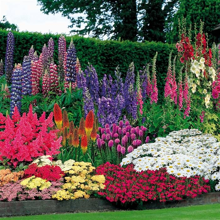 Bright and colorful flower garden. A Kincaid garden tag is the only plant  label you