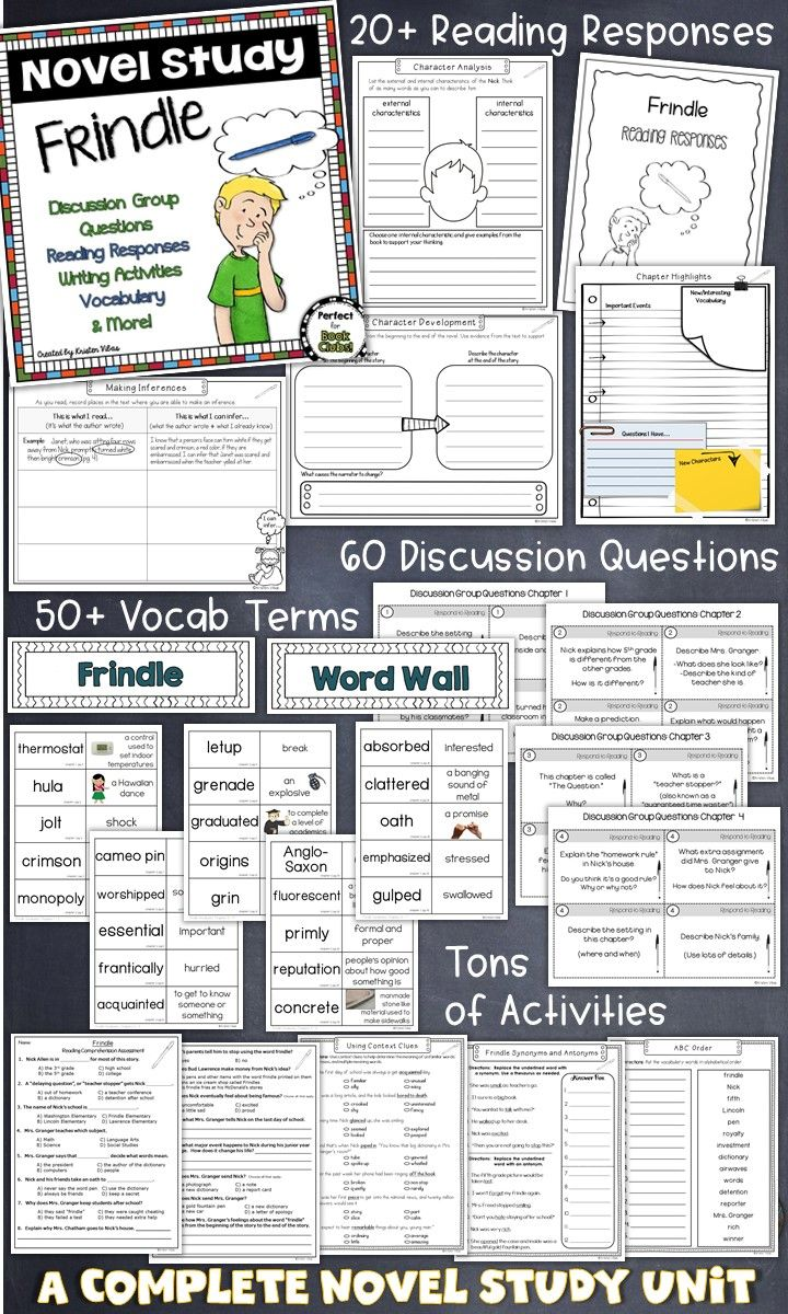 A Frindle Novel Study Unit, perfect for a whole class read aloud, novel study, book clubs, literature circles and independent reading activities. Inside you'll find reading responses, discussion group questions, writing activities, Frindle assessments, plus so much more!
