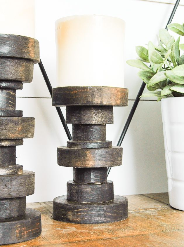 How To Make Inexpensive Pillar Candle Holders Candle Holders Inexpensive Candle Holders Pallet Candle Holders