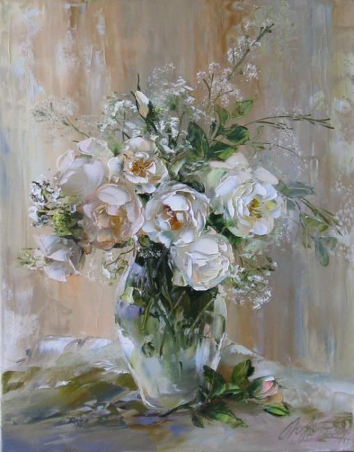 Wild rose bouquet by Russian artist, Oksana Kravchenko (1971) Russia, Novouralsk