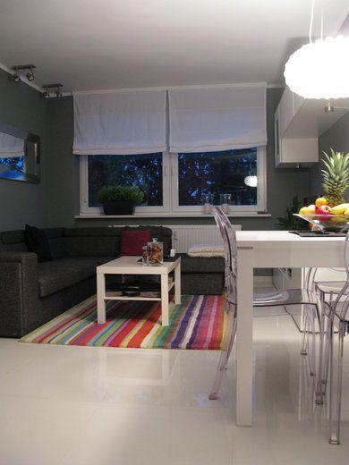 Wnętrza, salon - salon wieczorową porą