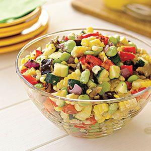 Grilled-Vegetable Succotash Salad   MyRecipes.com, reduce amount of dressing used to keep it fuhrman friendly