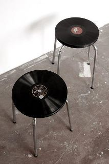 Take seating to a new spin.  Used were old, thick, Victrola records with a plywood base.
