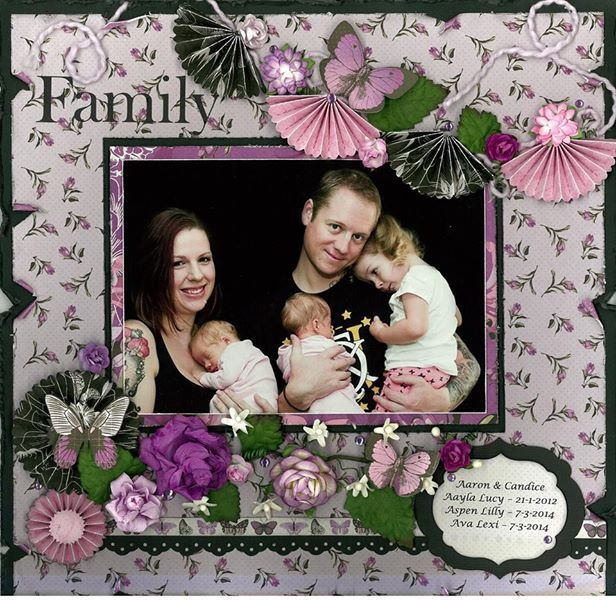This page was designed by PH designer Alicia O'Connell using the 'Violet Crush' collection from Kaisercraft #scrapbook #layout #purple #purplehedgehog #family #scrapbookpage