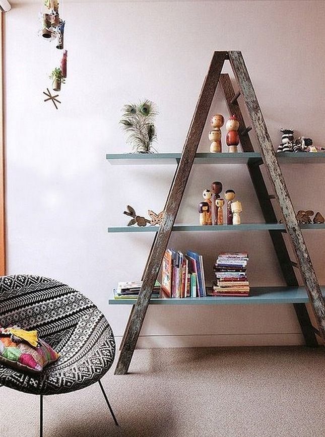 Just add flat boards to a ladder, and you've got yourself one stunner of a shelving unit.