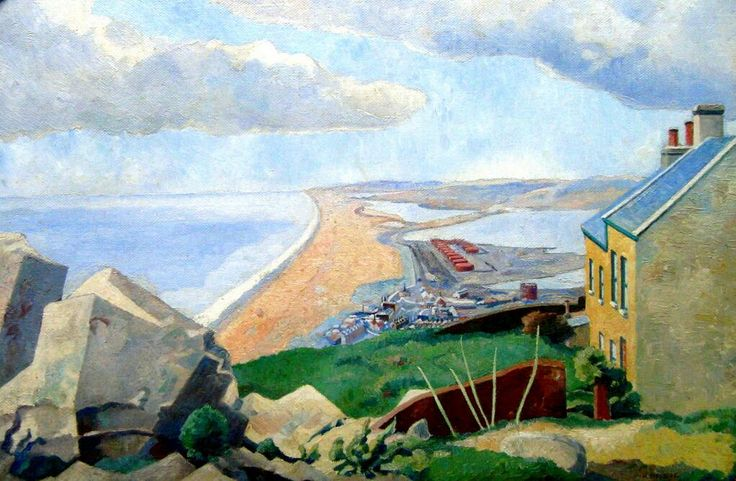 This is Chesil Beach from Portland by Harold Steggles from 1938 pic.twitter.com/MUyRAnO1rz