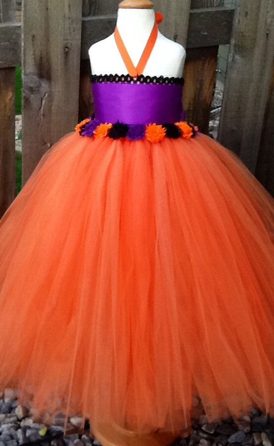 halloween tutu dress with shabby chic flowers with removable sash special dress shop - Halloween Tutu Dress
