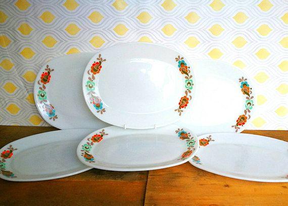 JAJ Pyrex Carnaby Tempo pattern set of 6, six large oval dinner steak plates. serving platters. c1960's, Mid century Pyrex dinner plates