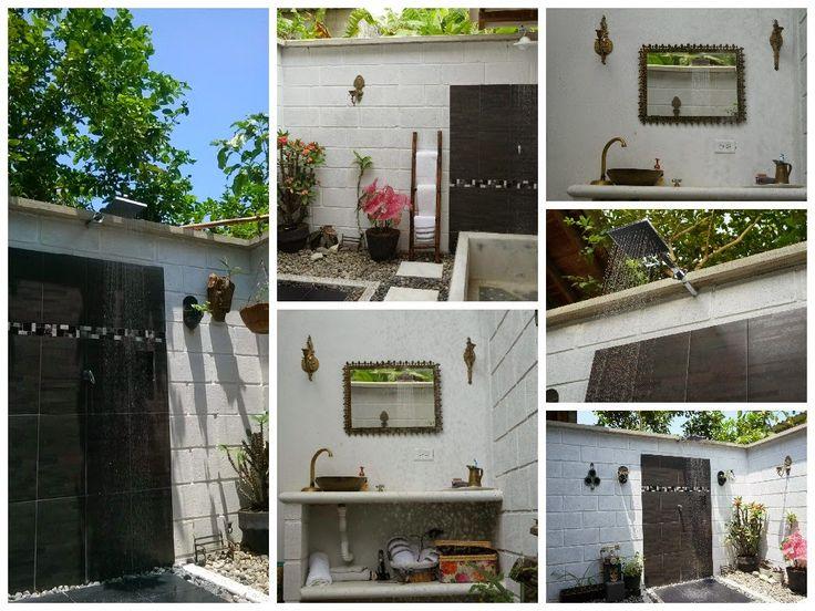 Baño en exteriores. baño al aire libre. http://decoracioncasarural.blogspot.com.co/ Un #baño al aire libre. que priorizara los #elementos rústicos #artesanales,   #ducha exterior. #ducha al aire libre. #ducha exteriores. #baño exterior.  #infografía.