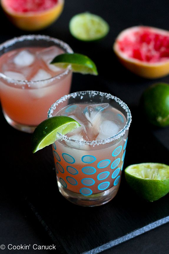 Pink Grapefruit Margarita Recipe...A fantastic cocktail made with fresh juice.  266 calories and 4 Weight Watcher PP | cookincanuck.com