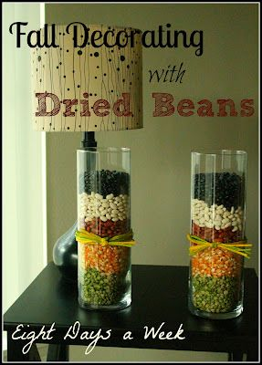 Use dried beans and popcorn seeds to make easy, cheap and super cute #Fall Decor!