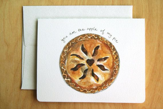 You are the Apple of my Pie // funny pun valentine card on Etsy, $4.64