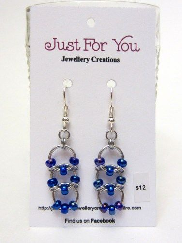 Chain Mail Earrings Embellished with Seed Beads | JustForYouJewelleryCreations - Jewelry on ArtFire