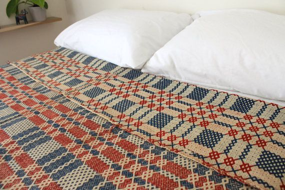 Vintage Woven Welsh Tapestry Blanket Danish by ffogshop on Etsy