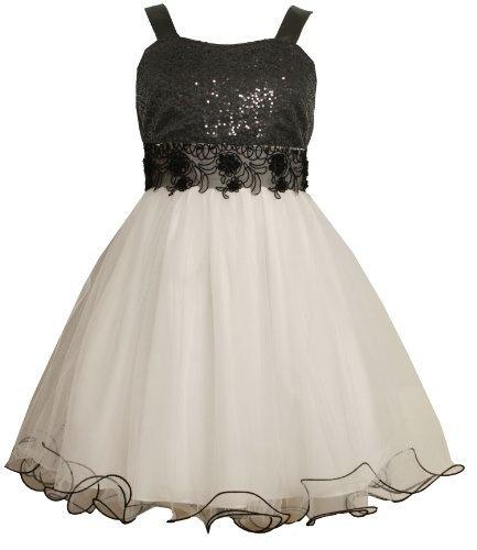 Size 7 black white bnj 8130r sleeveless sequined bodice for Wedding dresses for tweens