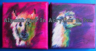 A Pretty Talent Blog: Alpaca Impressions in Acrylic & Pen