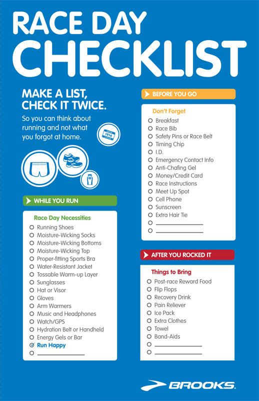 For the upcoming 5K walk/run.  Some of these I never would have thought of.
